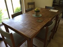 """Wonderful sturdy table with eight matching chairs            73"""" X 37"""" X 30"""""""