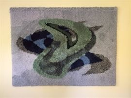 Wonderful original woven art piece! could be used as a small area rug or as a fun wall hanging. 3' X 4'