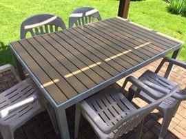 Strathwood outdoor table! Metal base with a composite top. Just in time for summer!