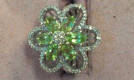 Sterling Genuine Diamonds & Peridot Gemstone Flower Ring