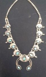 Squash Blossom Sterling Turquoise Vintage Necklace, very heavy, have a 2nd dif style, see picture towards end
