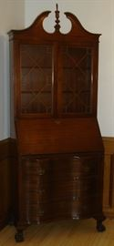 Vintage Skandia slant front secretary desk with bookcase