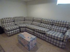 Plaid Sectional Sofa. 5 Sections make it easy to reconfigure and move.