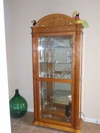 SOLID WOOD/GLASS LIGHTED CURIO