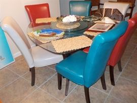 TRIANGLE SHAPE WOOD AND GLASS DINING TABLE