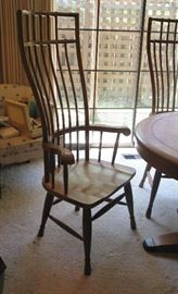 tall birdcage windsor back chairs, solid oak and heavy