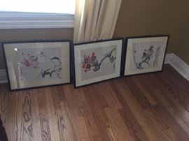 oriental art throughout house all framed and priced to sell