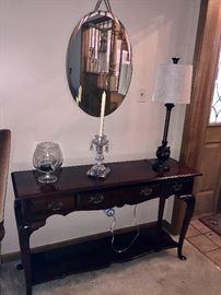 Queen Anne sofa/foyer table.