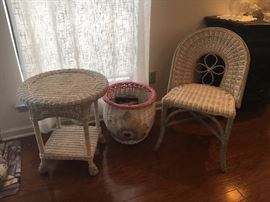 Darling Wicker set Chair Table & waste basket and/or Magazine basket....Your choice !!!