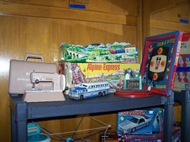 Toy Room Right Techinofix Alpine Express, Child's Singer, B & B Mfg Marble Cannon, Grey Hound Bus Scenicruser, Disney Toon-A-Vision