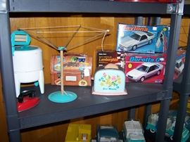 Toy Room Right  Wolverine Deluxe Washer, Clothes Line, Toaster, Model Cars, Iron, Lunch Box