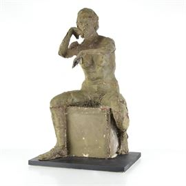 Original Tuska Cast Fiberglass Sculpture Mold of Seated Figure on Wood Plinth: A John Tuska (1931 – 1998) fiberglass sculpture mold of seated figure on wood plinth. Features a figure seated on a box in a thoughtful posture. The piece is finished in olive and rust tones and rests on a black painted wood plinth. A certificate of authenticity signed by the artist son, Seth D. Tuska, is included to this piece. This is one of three pieces of the original mold. Similar to 17LEX097-004 and 17LEX097-020.