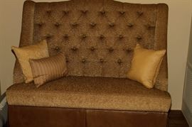 Feather's Custom Leather and mixed fabric Settee
