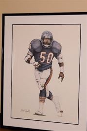 Michael Singletary Signed Lithograph also Signed by the Artist