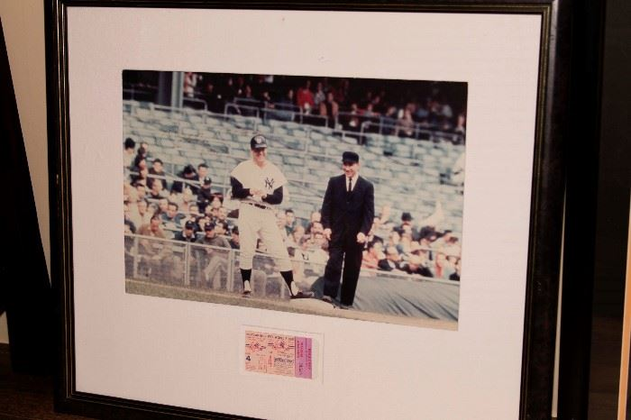 Signed Mickey Mantle Photo with 1956 Game 4 World Series Ticket