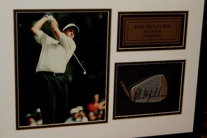 Phil Mickelson Framed Photo with Signed Golf Club