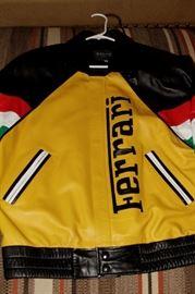 Leather Ferrari Jacket -Rare Italian Flag Colors on Sleeves -Size XL