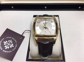Patek Philippe automatic watch, 18k.  Just back from being cleaned at the Patek Philippe service center.  Original box, papers etc.