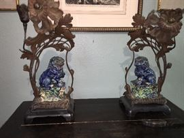 Pair antique French candle stands crafted around wonderful antique Chinese foo dogs.