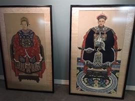 Pair of very large antique Chinese portraits.