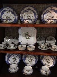12 place settings of Rothschild Bird in blue.  7 pieces per place setting with four serving pieces including a large covered tureen.  88 pieces total.