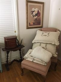 antique chair and footstool, 1930s art