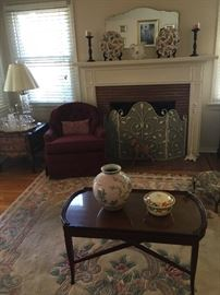 rug, antique table, chintz china