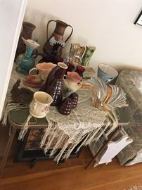 art pottery, bauer pottery, Hull pottery, roycroft style copper, mccoy pottery