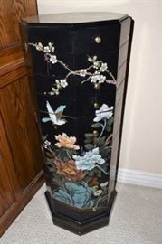Asian Black Lacquer Octagon Jewelry Armoire, left side