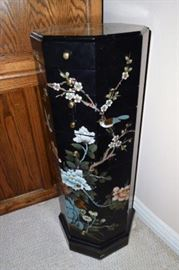 Asian Black Lacquer Octagon Jewelry Armoire, right side