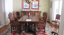Antique Carved Table & 6 Chairs