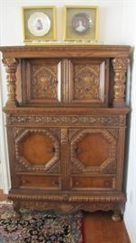 Antique Carved High Boy Linen/China Chest