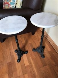 Nice Iron Bottom Marble Top End Tables