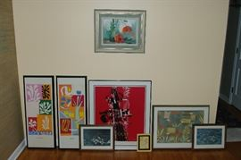 Selection of framed art, lithos, paintings.