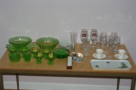 glass items: Depression Glass; lead crystal