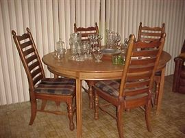 Dining Table & 4 Chairs & Glassware