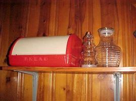 Bread Box & Glass Decanters