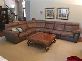 Natuzzi Italian Leather Recliner Sectional Sofa