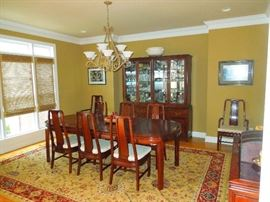 Rosewood Dining Table, Chairs, China Cabinet