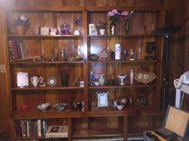 Books, milk glass vase, vintage bowls, nicknacks