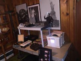 Vinyl albums, 8 track player, CD player, vintage cameras