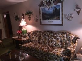 Vintage floral sofa, gorgeous green lamps, Home Interior decor