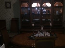 MCM Dining table with leaf and 6 chairs & matching hutch
