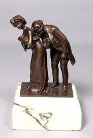 "Carl Kauba (Austrian, 1865-1922) ""The Cardiologist"" Bronze Cast Statuette, Circa 1905, Elderly Doctor Checking Female's Heartbeat, 4""W x 7""H"