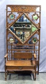 """Unique Antique Ornately Carved Hall Tree Seated Bench, Beveled Glass Mirrors, 39.5""""W x 73""""H x 18""""D"""