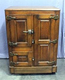 "Antique Oak 3 Door Porcelain Lined Icebox, 36.5"" x 52.5""H x 20""D"