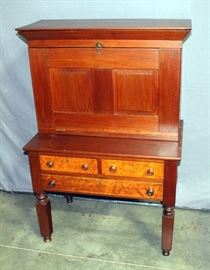 """Early 1800's Plantation Desk, Dovetail Constructed Drawers, Flip-Open Top, 35.5"""" x 51"""" x 20""""D"""