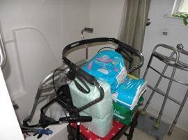 Diapers, pads, ambulatory equipment