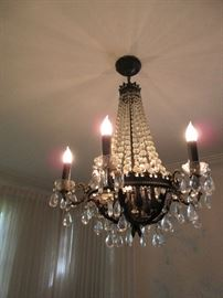Great black, bronze and crystal chandelier