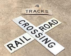 """Railroad Crossing True Vintage Metal Signs (48"""" ; 4 foot each)"""